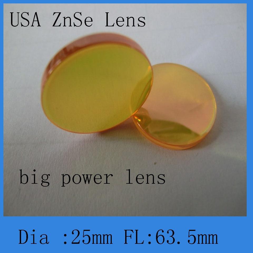 High Quality Big Power  Co2 Laser Focus Lens 25mm Diameter 63.5mm Focus Lens  Meniscus Structure