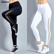 Women Fashion Legging Sexy Slim Eyelet Straps leggings High Waist Leggings Woman Pants fitness leggingfemale Xnxee