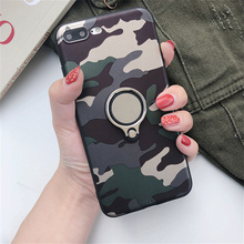 Retro Super Army Camo Camouflage Case For iphone 5 SE 6 6s 7 8 X Plus Luxury Metal 360 Finger Ring Holder Car Combo Cover
