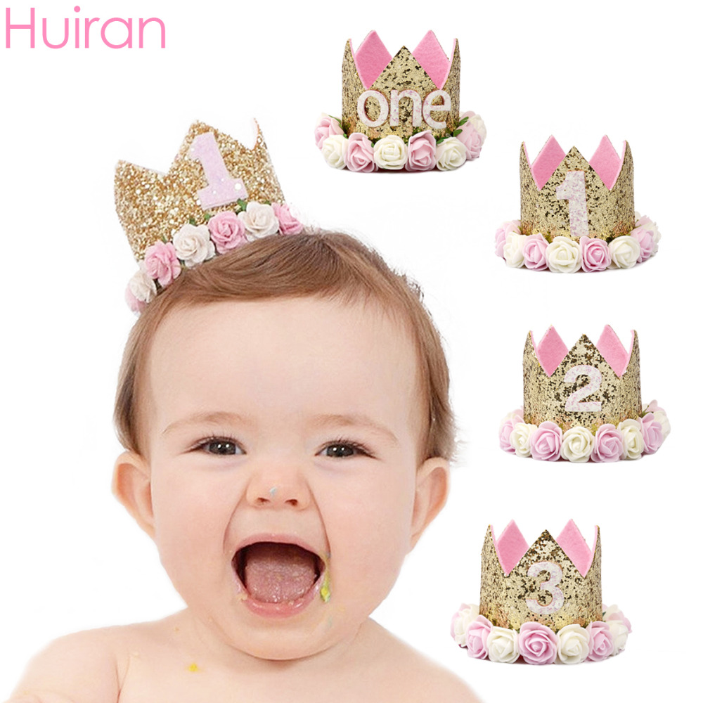 1st 2nd 3rd Year Old Birthday Party Decor Happy Cap Hat Princess Crown Number Baby Kids Hair Accessories
