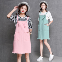 Fashion Summer Cute Preppy Style Denim Dress 2018 New Arrival Female Casual Lovely Suspense Dresses Bottoms Pink/mint