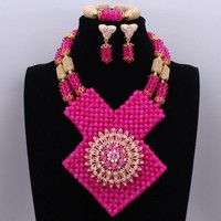 Christmas Costume Necklace Jewelry Sets Elegant Hot Pink African Lady with Brooch High Quality Jewelry Sets Free Shipping