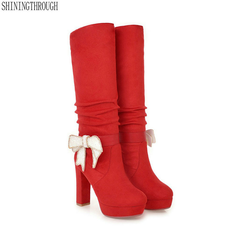 New thick High Heels snow boots Knee High Women snow Boots 2018 bowties Round Toe Platform Ladies wedding shoes Size 34-43 platform bowkont flocking snow boots