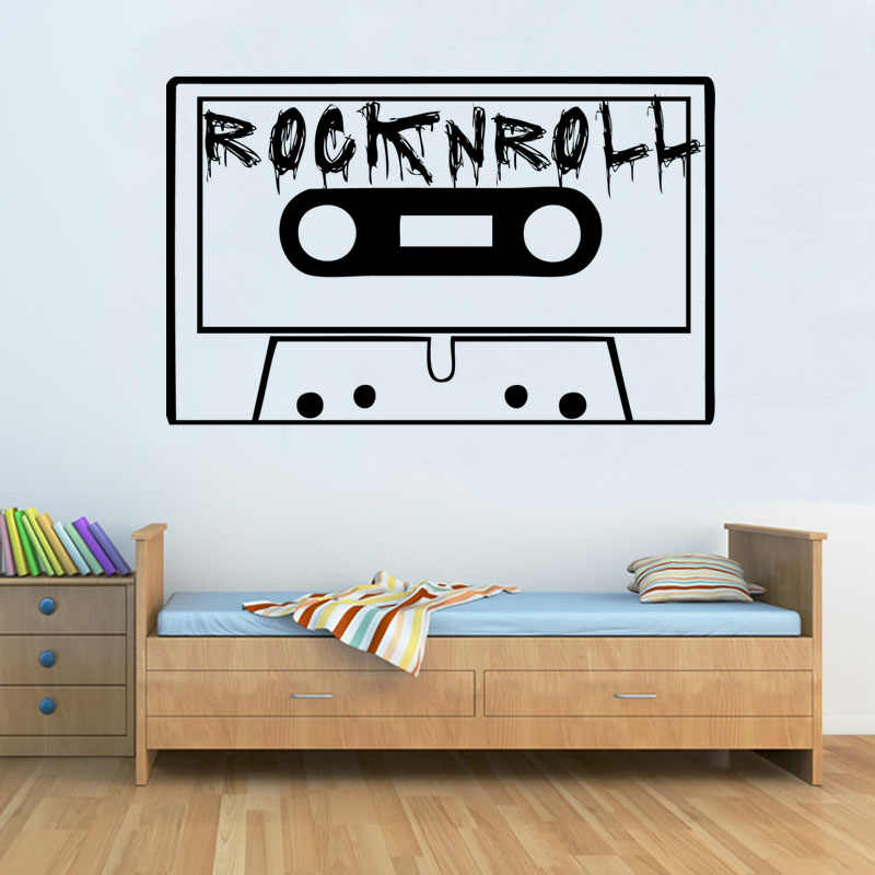 Vintage Rock And Roll Tape Wall Sticker Kids Bedroom Vinyl Removable Home Decor Art Wall Decal Wall Decals Wall Stickerkids Bedroom Aliexpress