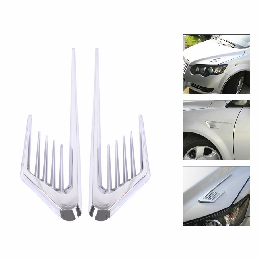 New Car Sticker Shark Gill Cover Fake Side Decorative Air Vent Fender Hole Intake Duct Flow Grille for VW Chevrolet Nissan Kia frp fiber glass front headlight vented air duct cover replacement lhs tuning parts for nissan skyline r32 gtr gts