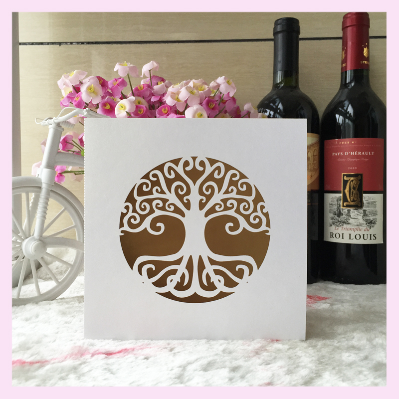50pcs Lot Life Tree Design For 90th Birthday Invitation Decoration Paper Craft Laser Cut Wedding Card Greeting In Cards Invitations From
