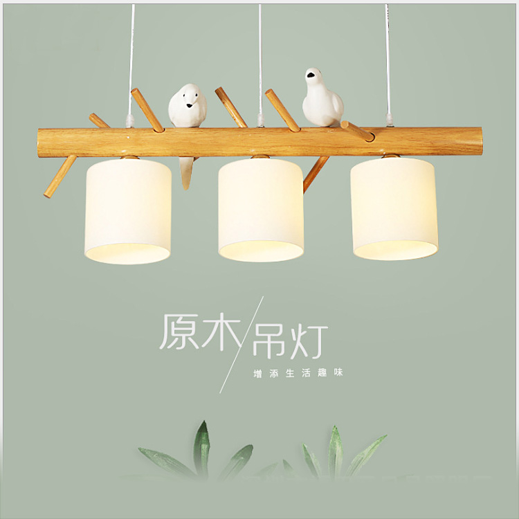 Nordic creative personality bird restaurant chandelier study living room bedroom bar cafe Japanese-style wooden lamp led light led bird style chandelier north american style simple living room bedroom creative light personalized art decoration restaurant