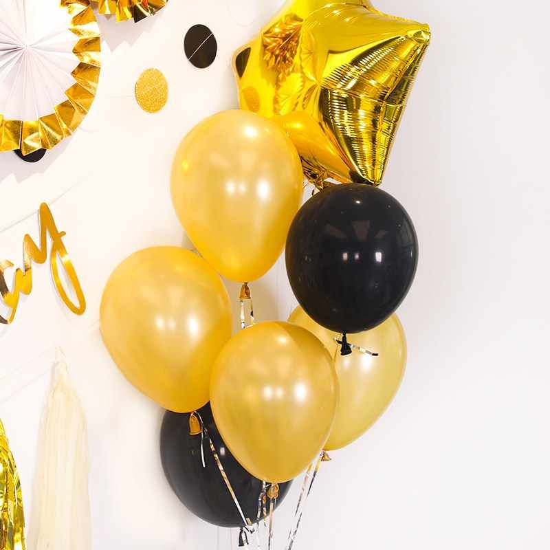 10pcs/lot 10inch Gold Black Latex Helium Balloons Wedding Birthday Balloons Baby Shower Party Decor Supplies Kids Toy air globos