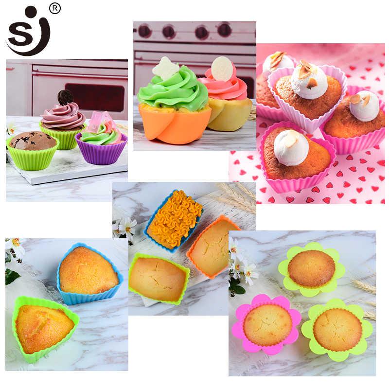 6 шт. силиконовые формочки для кексов сердце Форма для мыла, торта, маффины Форма для выпечки антипригарная и термостойкая Многоразовая силиконовая форма для кексов