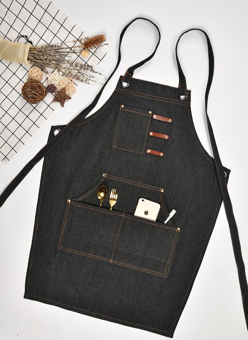 Джинсовый Кухонный Фартук с регулируемым хлопковым ремнем, большие карманы, синий бариста, мужская и женская домашняя одежда - 3