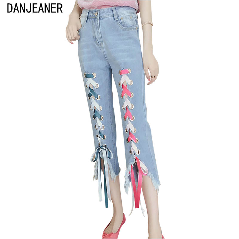 Danjeaner 2019 Plus Size Women Lace Up Irregular Jeans Sexy Personality High Waist Denim Pants Boyfriend Jeans For Women
