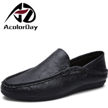 ADAcolorDay New Arrival Slip on Moccasins Soft Light Cheap Designer Shoes Spring Autumn Black Leather Shoes Men Size 39-44