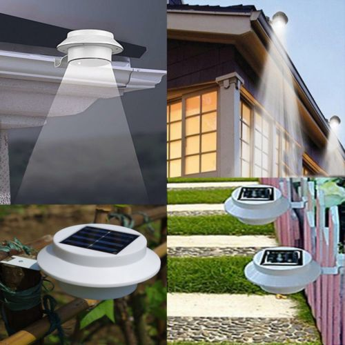 2pcs/lot Outdoor Solar Powered 3-LED Wall Path Landscape Mount Garden Fence Light Lamp youoklight 0 5w 3 led white light mini waterproof solar powered fence garden lamp black
