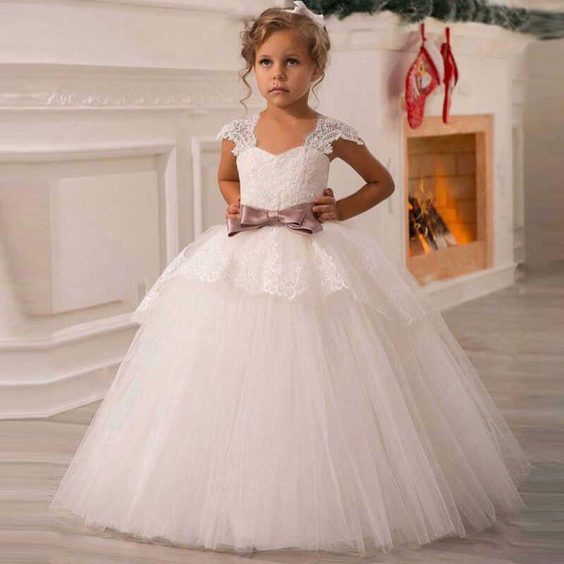 ca8ff408375 Белый Платье в цветочек для девочек для Свадебное кружево из тюля Длинные  платье для девочек вечерние