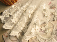 OFF White Bridal Lace Trim with Retro Embroidered Stars Wedding Veil Supplies 8 inch  WSSR020 10yards
