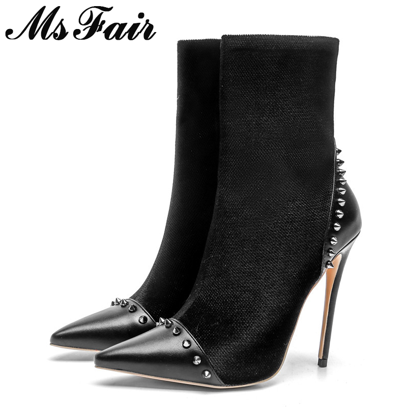 MSFAIR Women Boots Fashion Pointed Toe High Heel Ankle Boots Women Shoes Zipper Rivet Stiletto heel Black Boot Shoes For Girl цена