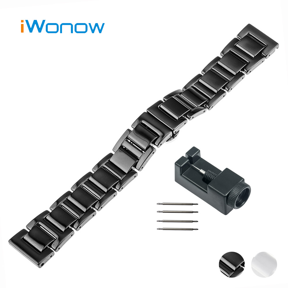 20mm Ceramic Watch Band for Motorola Moto 360 2 42mm Men 2015 Butterfly Buckle Strap Wrist Belt Bracelet Black White + Tool 20mm watchband stainless steel smart watch band strap bracelet for motorola moto 360 2 2nd gen 2015 42mm smartwatch black silver