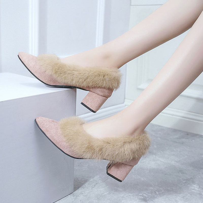 Women Pumps Heel-Shoes SAILING Slip-On Round-Toe Elegant Warm Winter with Faux-Fur LU