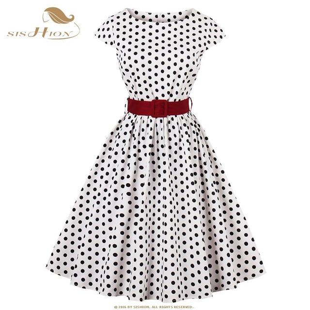bdd1945a23a2 Polka Dot Dress SISHION Cap Sleeve White Black Dot Plus Size Women Dresses  50s 60s Big Swing Retro Vintage Summer Dress VD0677