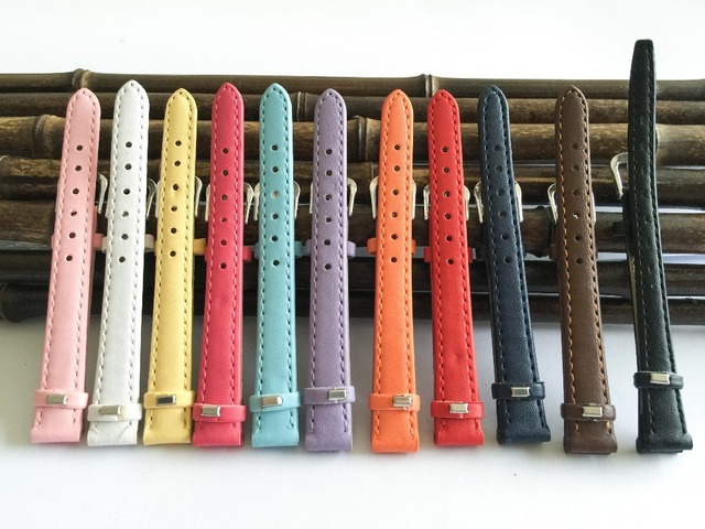 leather watchband 12mm Straps for watches and accessories 2019 fashion multicolor women's watch bands 12mm  thin pulseira A014