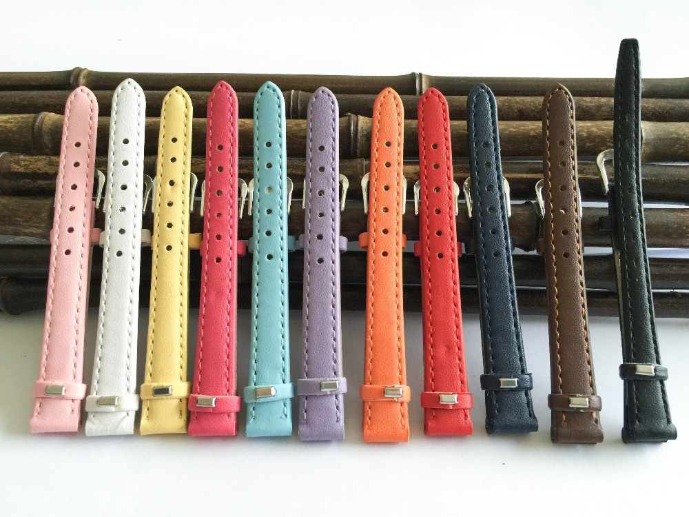 leather watchband 12mm Straps for watches and accessories 2020 fashion multicolor women's watch bands 12mm  thin pulseira A014