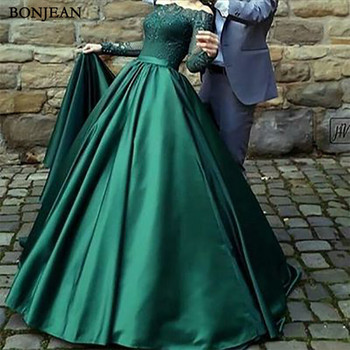Modest Dark Green Evening Dresses A-Line Floor Length Off Shoulder Long Sleeves Sweep Train Lace Evening Gowns Custom Made