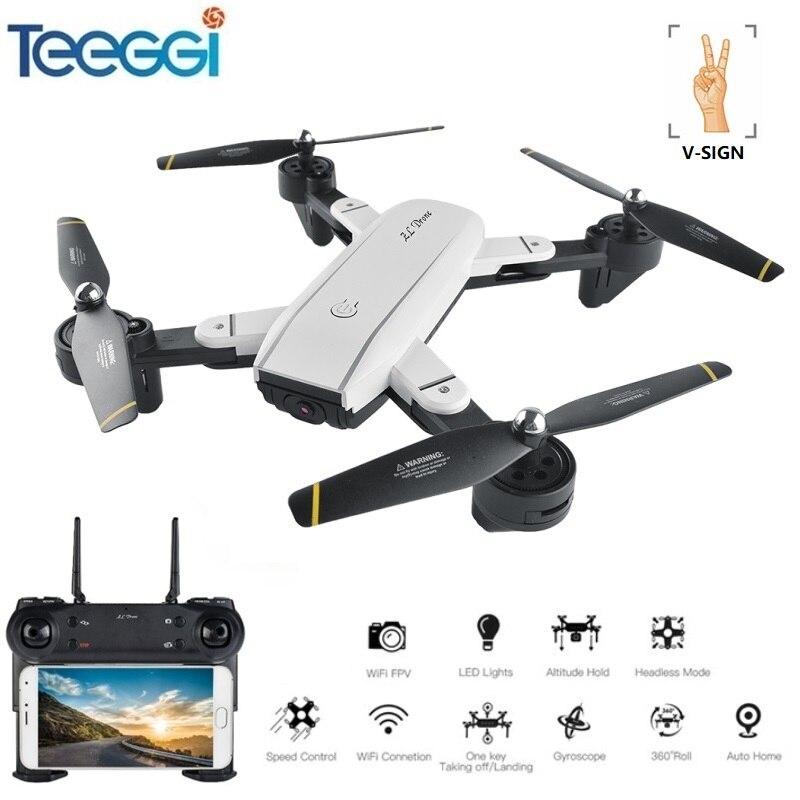 Teeggi SG700 Selfie Drone FPV RC Qudacopter Avec 720 p HD Caméra Pliable Dron Maintien D'altitude Helciopter Optique Suivre Mode