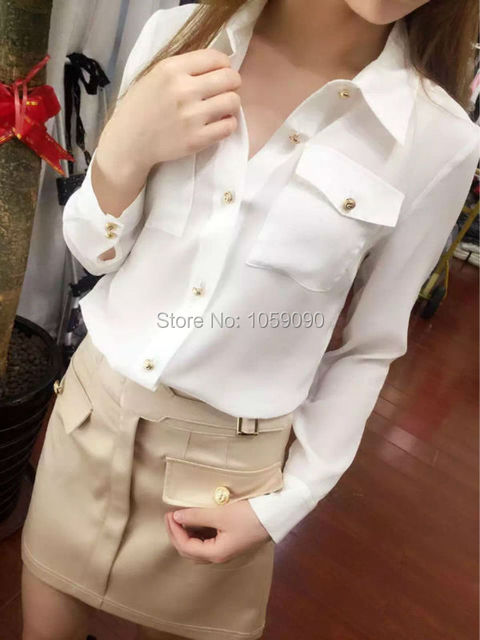 69b53493a 100% Silk Shirt Collar White Blouse Long Sleeves With Gold Lion Buckles  Front Two Pockets