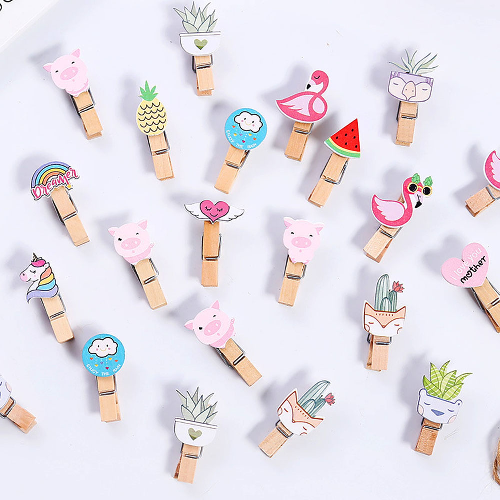 10PCS/Pack Kawaii Wooden Paper Clip Bookmark For Album With Rope Message Stickers Stationery School Office Supply Decoration