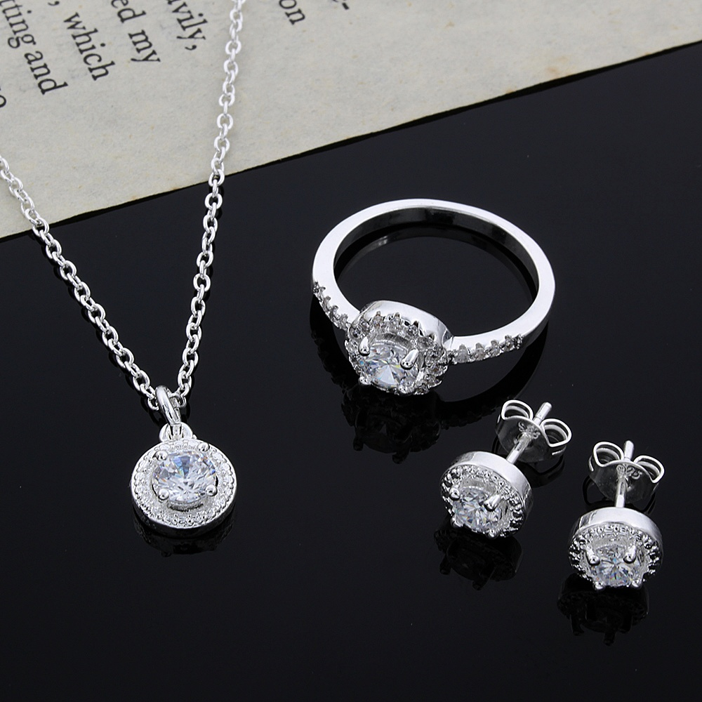 Women's Fashion Silver Plated Jewelry Sets Necklace/Earrings/Ring Luxury AAA Zircon Wedding Jewelry Set For Bridal Drop Shipping