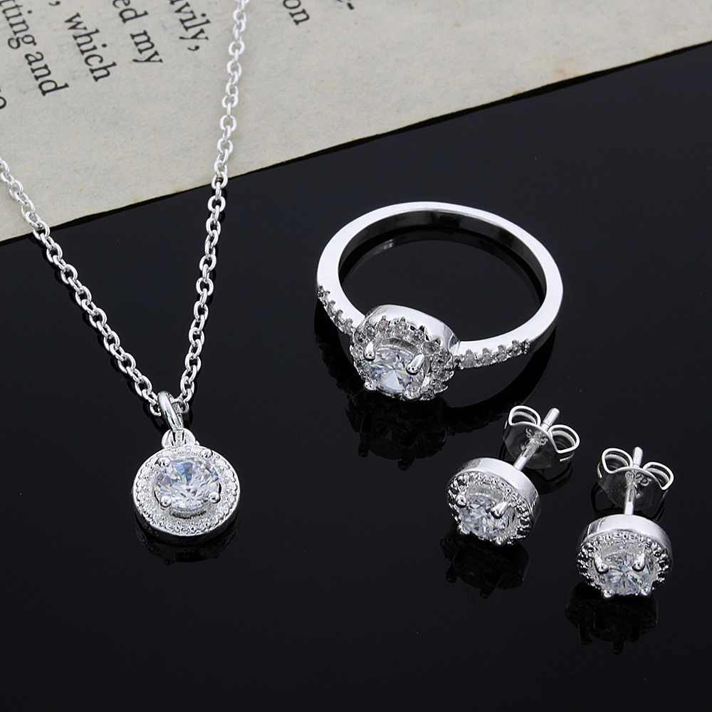 c6ed3b14fe203 Women's Fashion silver plated jewelry sets Necklace/Earrings/Ring Luxury  AAA zircon wedding jewelry set for bridal drop shipping