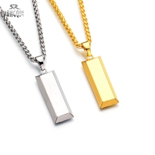 Hiphop BRAND  Gold Cube Bar Necklace&Pendant Hip Hop Jewelry Dance Charm Franco Men Chain Necklace