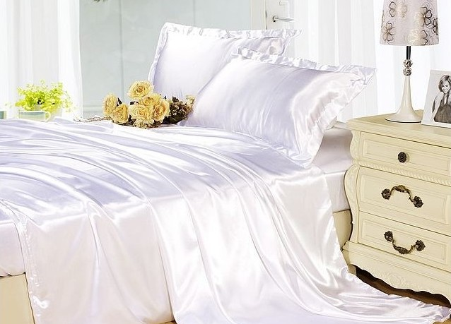 silk sheets bedding set white cream silk satin super king size double duvet cover fitted sheet - Silk Bedding