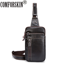 COMFORSKIN Genuine Leather Fashion Messenger Bag Men Leather Chest Bag Hot Brand Chest Pack Thread Style Cross-body Bags For Men