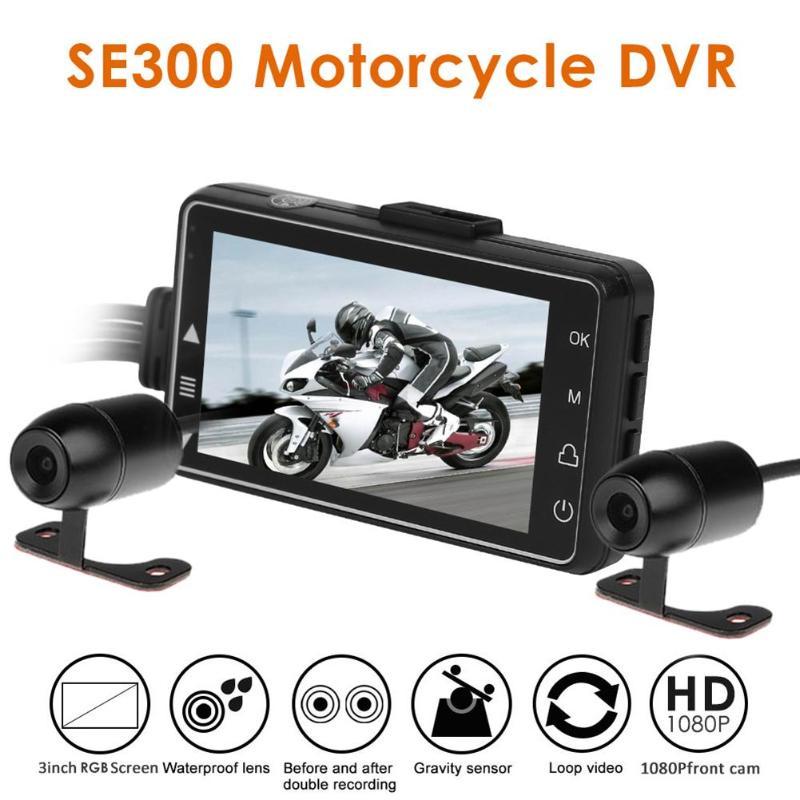 SE300 moto DVR vue avant + arrière moto Dash Cam enregistreur vidéo noir Vision nocturne boîte double moto Action caméra HD