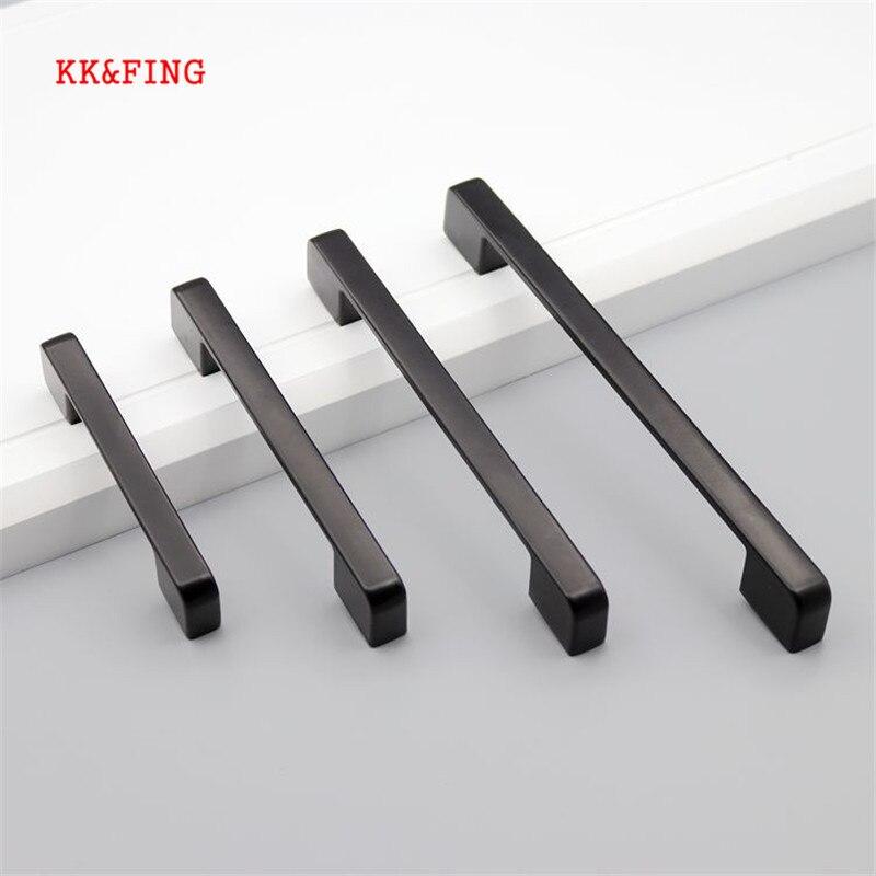 Kk & fing estilo americano preto alumínio gabinete alças e botões simples gaveta de cozinha puxa móveis maçaneta da porta ferragem