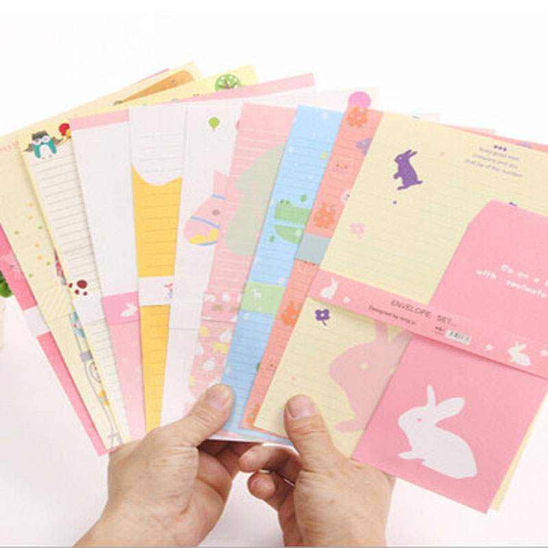 3pcs Envelop 6pcs Colorful Letter Paper Sets Kawaii Animals Big Size Envelopes Writing Paper Set Wedding Letter Invitations Card