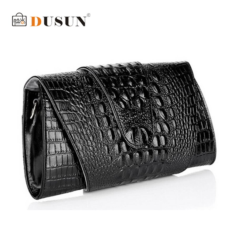 ФОТО DUSUN 3D Crocodile Genuine Leather Women Handbag Cover Elegant  Women Messenger Bags Chains Vintage Shoulder Bags Party Cutch
