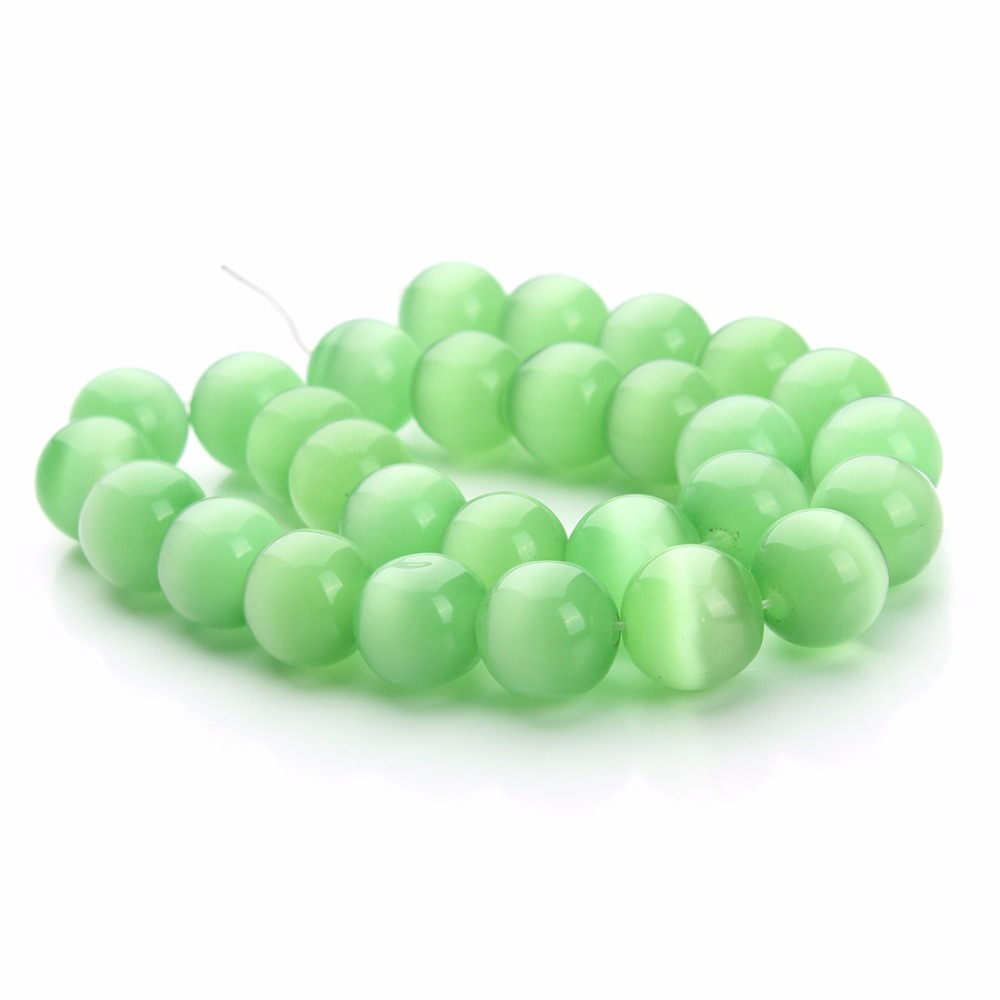 DC Green Cat Eye Round Loose Spacer Charm Stone Beads 6mm 8mm 10mm12mm 40cm/Strand for Beaded Jewelry Making Components