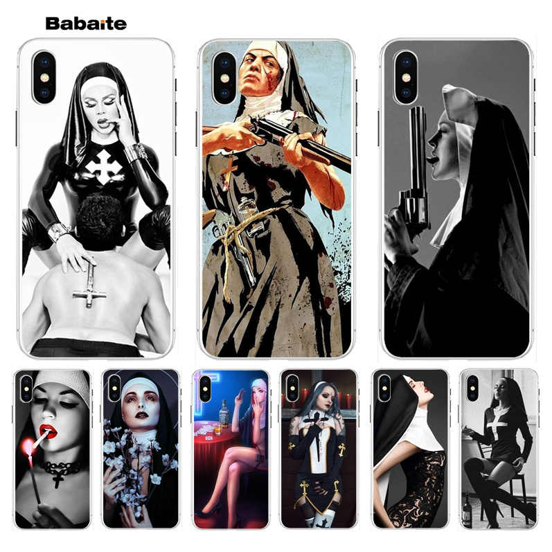Babaite Seksi Biarawati Telepon 11 Telepon 11 High-End Aksesoris Case untuk Apple Iphone 8 7 6 6S Plus X XS Max 5 5S SE XR Cover
