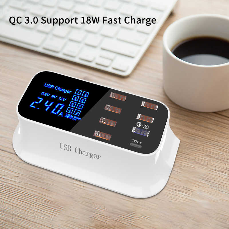 Portable Multi Usb Desktop Charger Quick Charge 3.0 Usb Charger Stasiun Dock LED Display Smart USB Tipe C 8 Port charger Hub