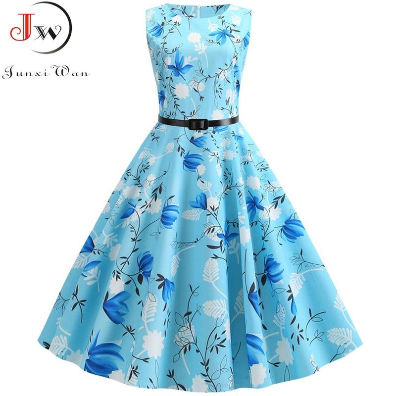 Summer Dress Women Sleeveless Floral Print Vintage Dress Casual Tank Retro 50s 60s Robe Rockabilly Chic Party Dresses Vestidos