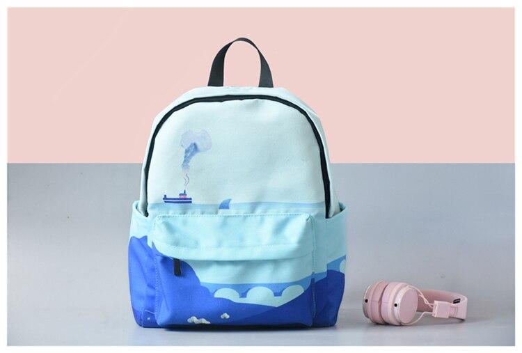 HTB1A.hFVNnaK1RjSZFBq6AW7VXak Moon Wood Original Design Black Blue Print Sea Moon Backpack Women Casual Canvas Backpack School Bags For Teenager Girls Sac