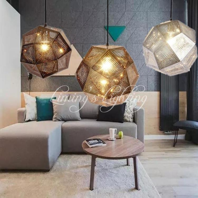 Dia 25cm/32cm/47cm Designer Lighting Etch Shade Suspension Pendant Lamps,Golden Stainless steel Shade Pendant Lights