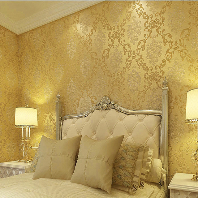 3D Wallpapers European Luxury Floral Wallpaper Roll Embossed Gold Living Room Desktop Decor