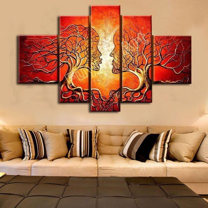 Hand Paintings For Living Room Wall Abstract Oil Painting On Canvas Art Posters And Prints 5pcs