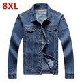 Джинсовая куртка мужчины 6XL 7XL 8XL мужская clothing Ковбой куртка джинсовая верхняя одежда плюс размер куртки мужчины весной и осенью топ