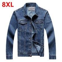 8XL men's clothing 7XL Jeans jacket men 6XL Cowboy jacket denim outerwear plus size jacket male spring and autumn top
