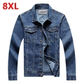 8XL men's clothing  7XL Jeans jacket men  6XL Cowboy jacket denim outerwear  plus size jacket male spring and autumn top