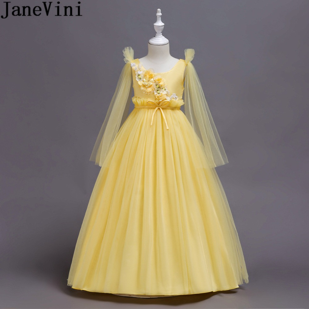 JaneVini Princess Yellow Tulle Flowers Girls Ball Gowns Long Flower Girls Dresses Kids A Line Pageant Formal Wedding Party Dress